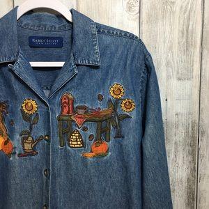 Vintage Karen Scott Fall Denim Shirt Flaws Size SM